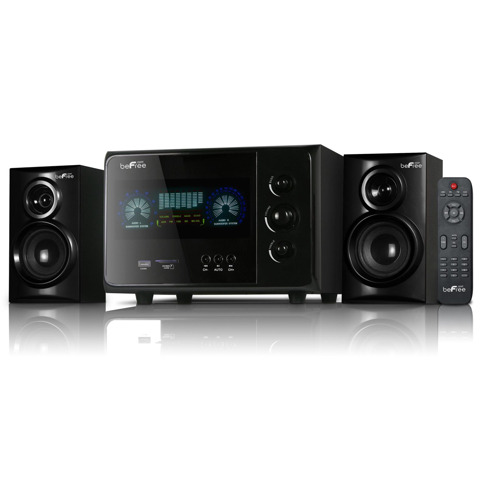 beFree Sound BFS-15 2.1 Channel Surround Sound Bluetooth Speaker System Black