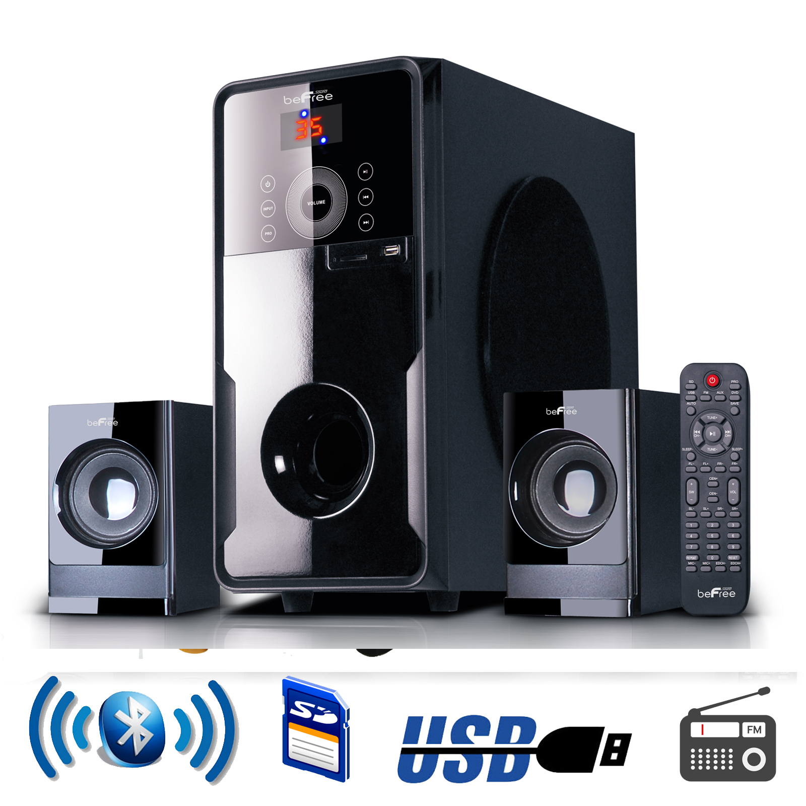 shop befree sound 2 1 channel surround sound bluetooth speaker s. Black Bedroom Furniture Sets. Home Design Ideas