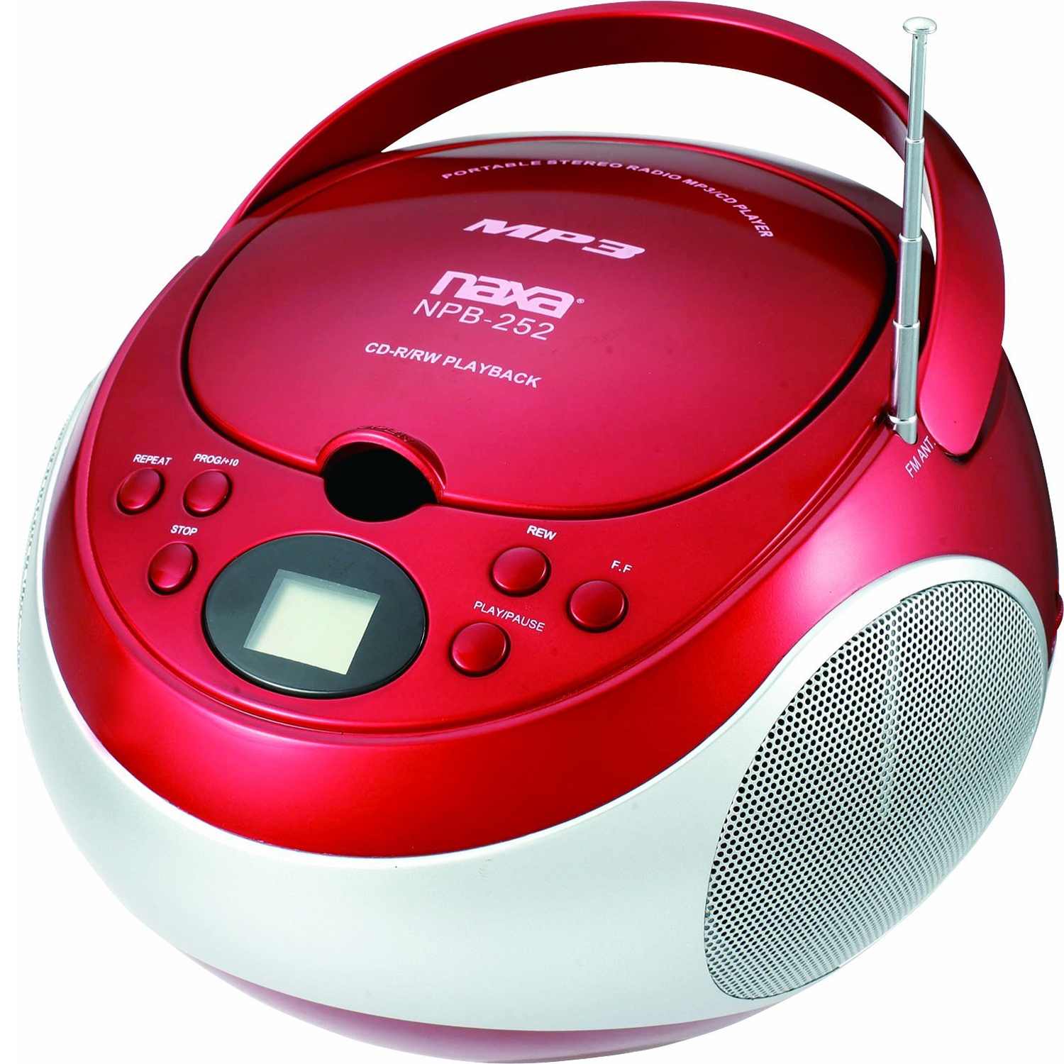 shop naxa portable mp3 cd player with am fm stereo radio red. Black Bedroom Furniture Sets. Home Design Ideas