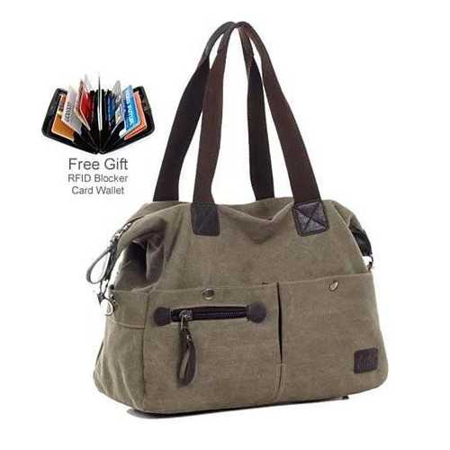 The Uptown Journey Canvas Hand Bag With FREE RFID BLOCKER WALLET