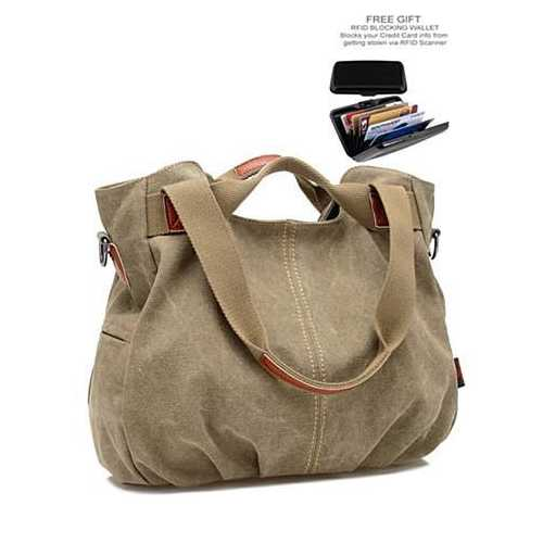 ARM CANDY Handy Natural Canvas Handbag w/ FREE RFID Credit Card Protector Case