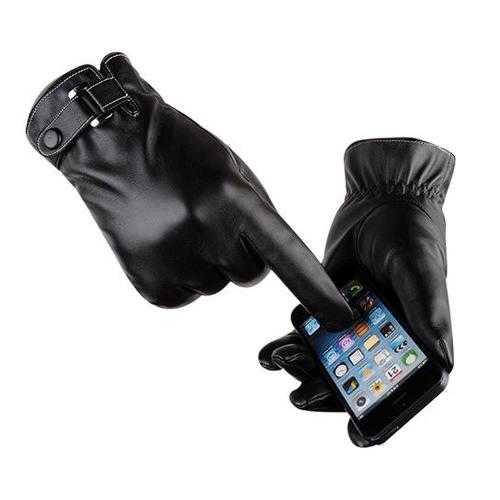 Autumn Warmth Stylish Vegan Leather Touch Smart Gloves