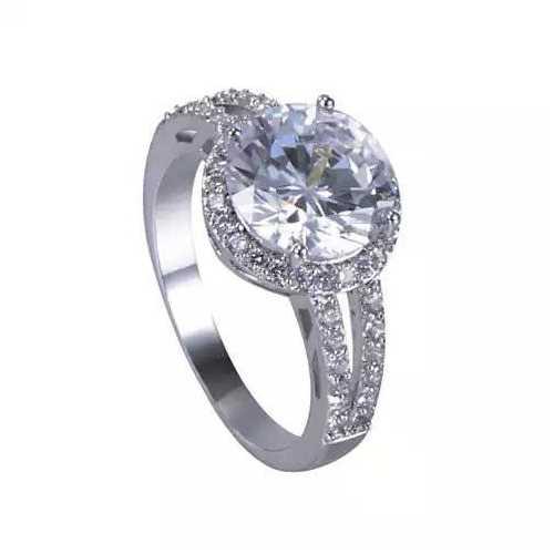 Love Struck Diamond Crystals Platinum Plated Halo Ring
