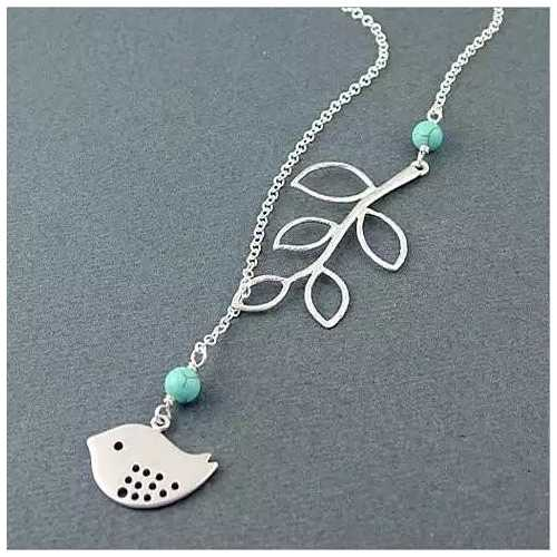 TURQUOISE SPRING Beautiful Bird Lariat Necklace