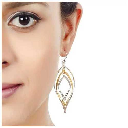 CHARMING WINDCHIME Gold And Silver Mix On 925 Sterling Silver Earrings