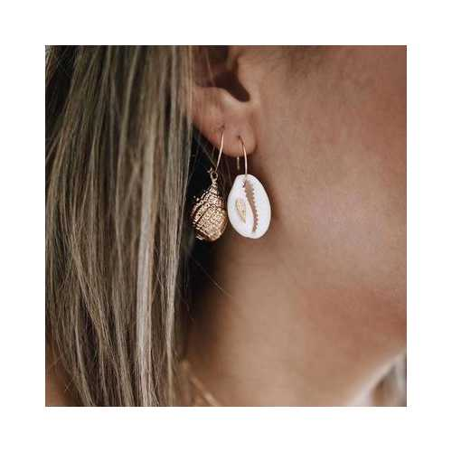 Conch And Cowrie Hoop Earrings