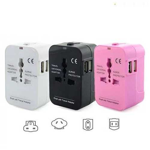 Worldwide Power Adapter and Travel Charger with Dual USB ports that works in 150 countries
