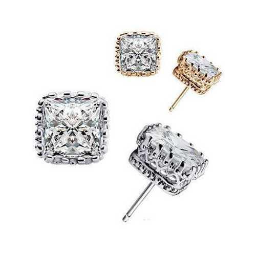 Royal Crown Earrings in Princess Cut Stones