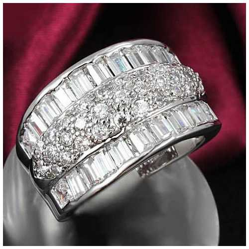 Regal Baguette And CZ Statement Band Ring