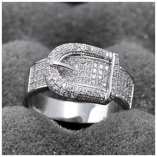 Illusion - Belt Style Ring Crafted In Hand Set CZ Stones On Sterling Silver