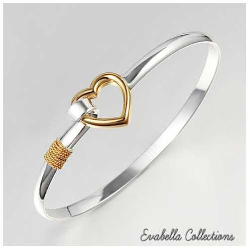 Hold My Heart Gold And Silver Polished Bracelet