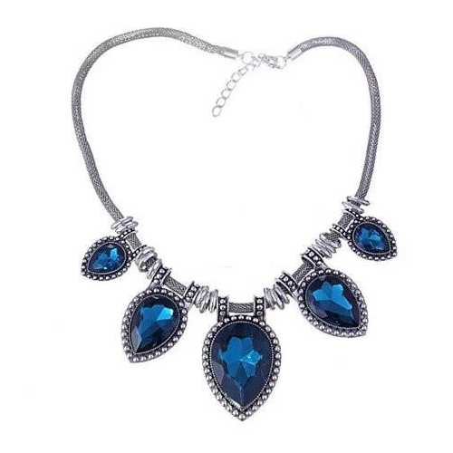 BeYOUtiful Crystal And Antique Silver Style Statement Necklace