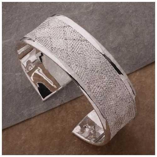 Josephine Bangle Bracelet a Woven Mesh in High Silver Polish