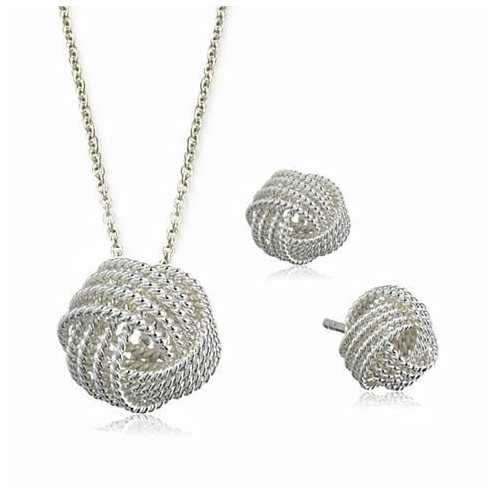 He Loves Me A Lot A Lovely Love Knot Pendant And Earrings Set