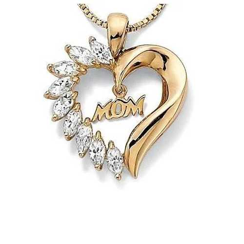 MOM's LOVE Heart Pendant With CZ