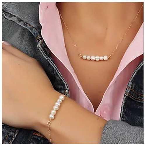 Miss Lovely Pearls Bar Necklace And Bracelet Set