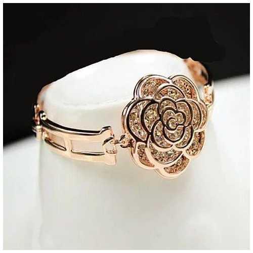 ROSE IS A ROSE 18kt Rose Crystal Bracelet In Rose Gold Polish