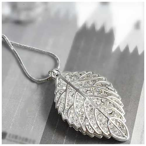 New Leaf Diamond Crystal Necklace