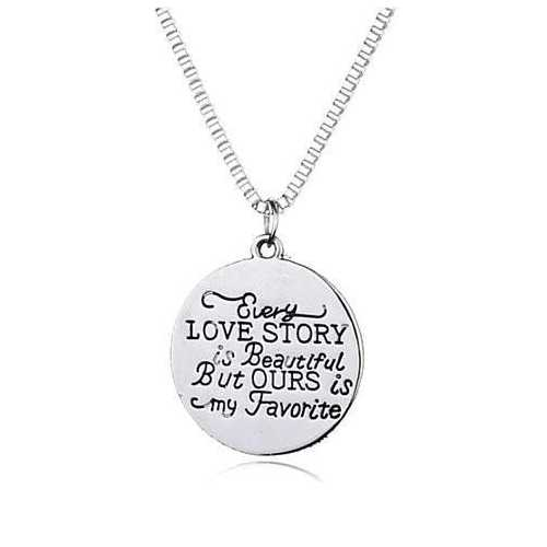 Love Quote Pendant and Chain Necklace