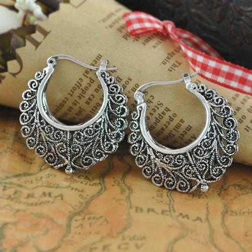 Silver Tribal look Filigree Hoop Earrings For World Traveller
