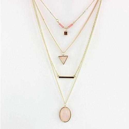 Oliva 4 Layered Necklace In Rose Quartz And Turquoise Stone