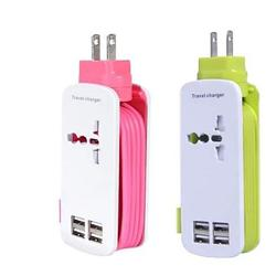 Smartest Travel Charger for 4 USB port with World Adapter and a 5ft Extension cord