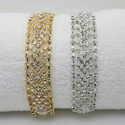 Brocade Bracelet Crystal Chevron Design In Vintage Look