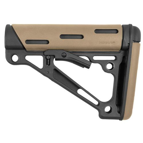 AR-15/M-16 OverMolded Collapsible Buttstock -Fits Commercial Buffer Tube -Flat Dark Earth Rubber