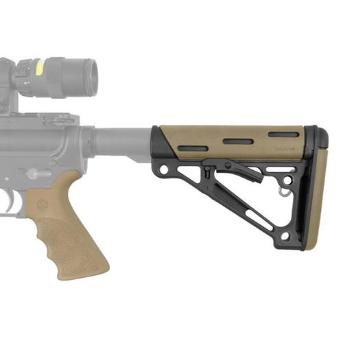 AR15 Kit - Rubber Grip with Finger Grooves and Collapsible buttstock in FDE