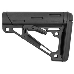 AR-15/M-16 OverMolded Collapsible Buttstock -Fits Commercial Buffer Tube -Black Rubber