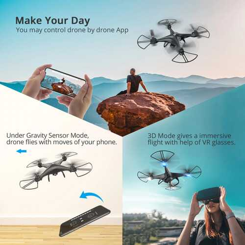 FPV RC Drone with 1080P HD Camera Live Video 120Wide-Angle WiFi Quadcopter with 3D Flip Voice