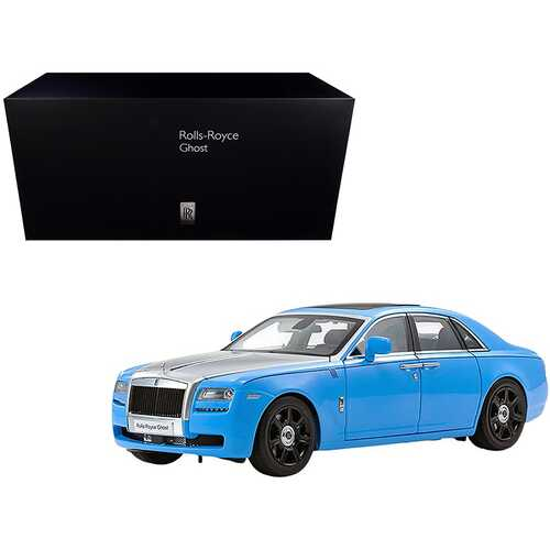 Rolls Royce Ghost Light Blue and Silver 1/18 Diecast Model Car by Kyosho