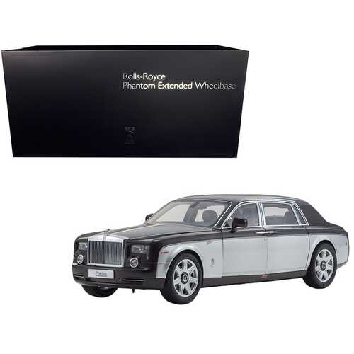 Rolls Royce Phantom Extended Wheelbase Dark Red and Silver 1/18 Diecast Model Car by Kyosho