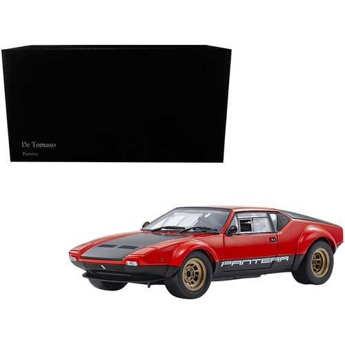 De Tomaso Pantera GT4 Red and Black 1/18 Diecast Model Car by Kyosho