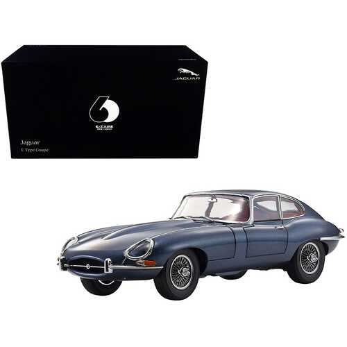 """Jaguar E-Type Coupe RHD (Right Hand Drive) Dark Blue Metallic with Red Interior """"E-Type 60th Anniversary"""" (1961-2021) 1/18 Diecast Model Car by Kyosho"""