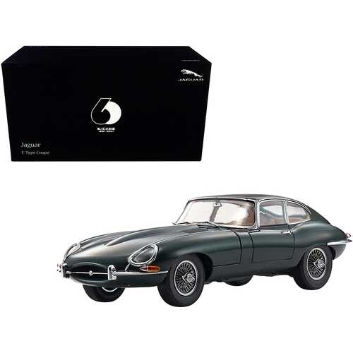 """Jaguar E-Type Coupe RHD (Right Hand Drive) Dark Green """"E-Type 60th Anniversary"""" (1961-2021) 1/18 Diecast Model Car by Kyosho"""