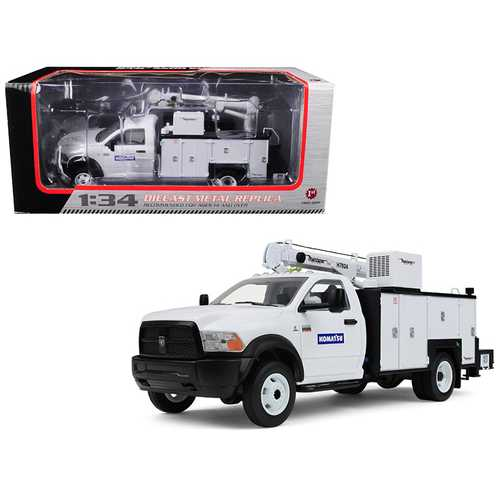"""RAM 5500 """"Komatsu"""" with Maintainer Service Body White 1/34 Diecast Model Car by First Gear"""
