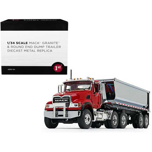 Mack Granite with Round End Dump Trailer Red and Chrome 1/34 Diecast Model by First Gear