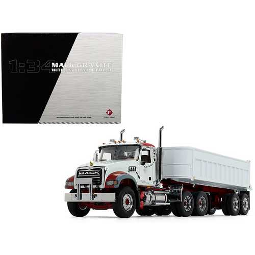 Mack Granite MP with End Dump Trailer White 1/34 Diecast Model by First Gear