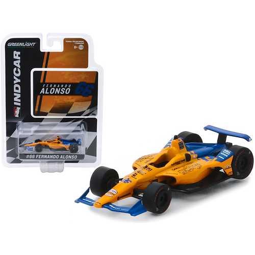 "Dallara Indy Car #66 Fernando Alonso ""Dell Technologies Mindmaze"" McLaren Racing 1/64 Diecast Model Car by Greenlight"