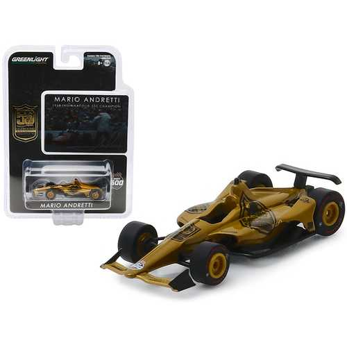 "Indy Car Mario Andretti 50th Anniversary 1969 Indianapolis 500 Champion ""Dallara Universal Aero Kit Tribute IndyCar"" 1/64 Diecast Model Car by Greenlight"
