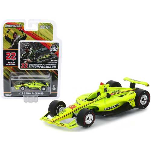 "Dallara Indy Car #22 Simon Pagenaud ""Menards"" Team Penske Indianapolis 500 Champion (2019) 1/64 Diecast Model Car by Greenlight"