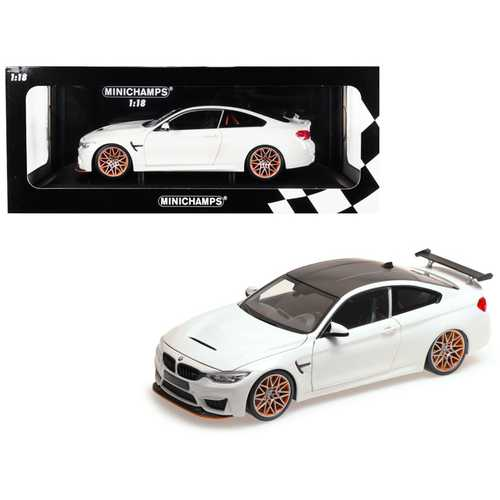 2016 BMW M4 GTS White with Carbon Top and Orange Wheels Limited Edition to 402 pieces Worldwide 1/18 Diecast Model Car by Minichamps