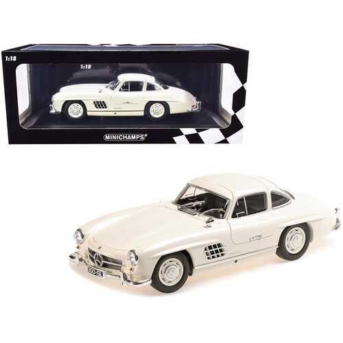 1955 Mercedes Benz 300 SL (W198) White Limited Edition to 300 pieces Worldwide 1/18 Diecast Model Car by Minichamps
