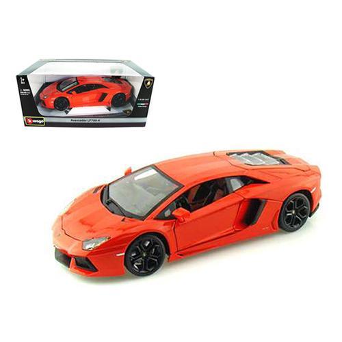 2012 Lamborghini Aventador LP700-4 Orange 1/18 Diecast Model Car by Bburago