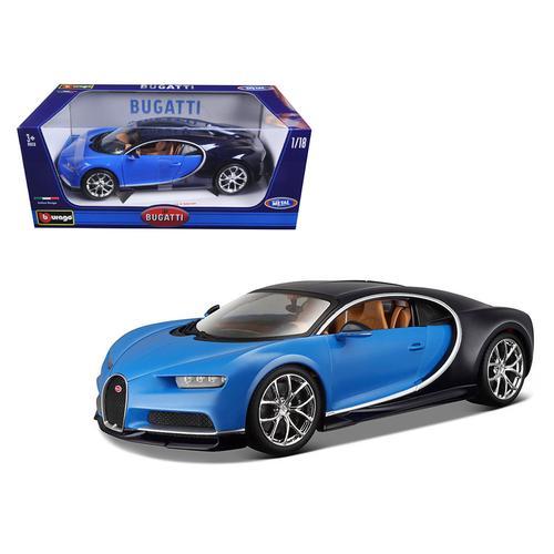 2016 Bugatti Chiron Blue 1/18 Diecast Model Car by Bburago
