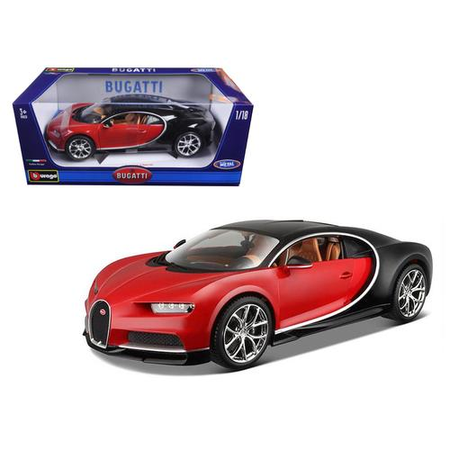 2016 Bugatti Chiron Red with Black 1/18 Diecast Model Car by Bburago
