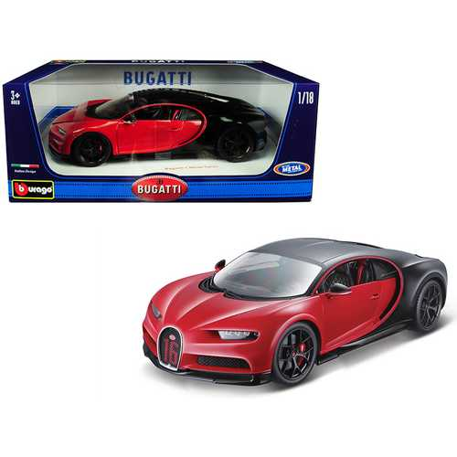 "Bugatti Chiron Sport ""16"" Red and Black 1/18 Diecast Model Car by Bburago"