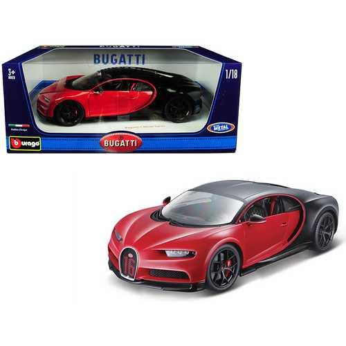 "Bugatti Chiron Sport ""16"" Red and Black 1/18 Diecast Model Car by Bburago"