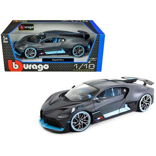 Bugatti Divo Matt Gray with Blue Accents 1/18 Diecast Model Car by Bburago